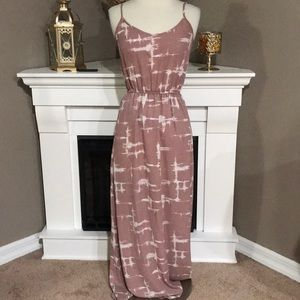 Forever 21 Mauve/White Spaghetti Strap Maxi Dress